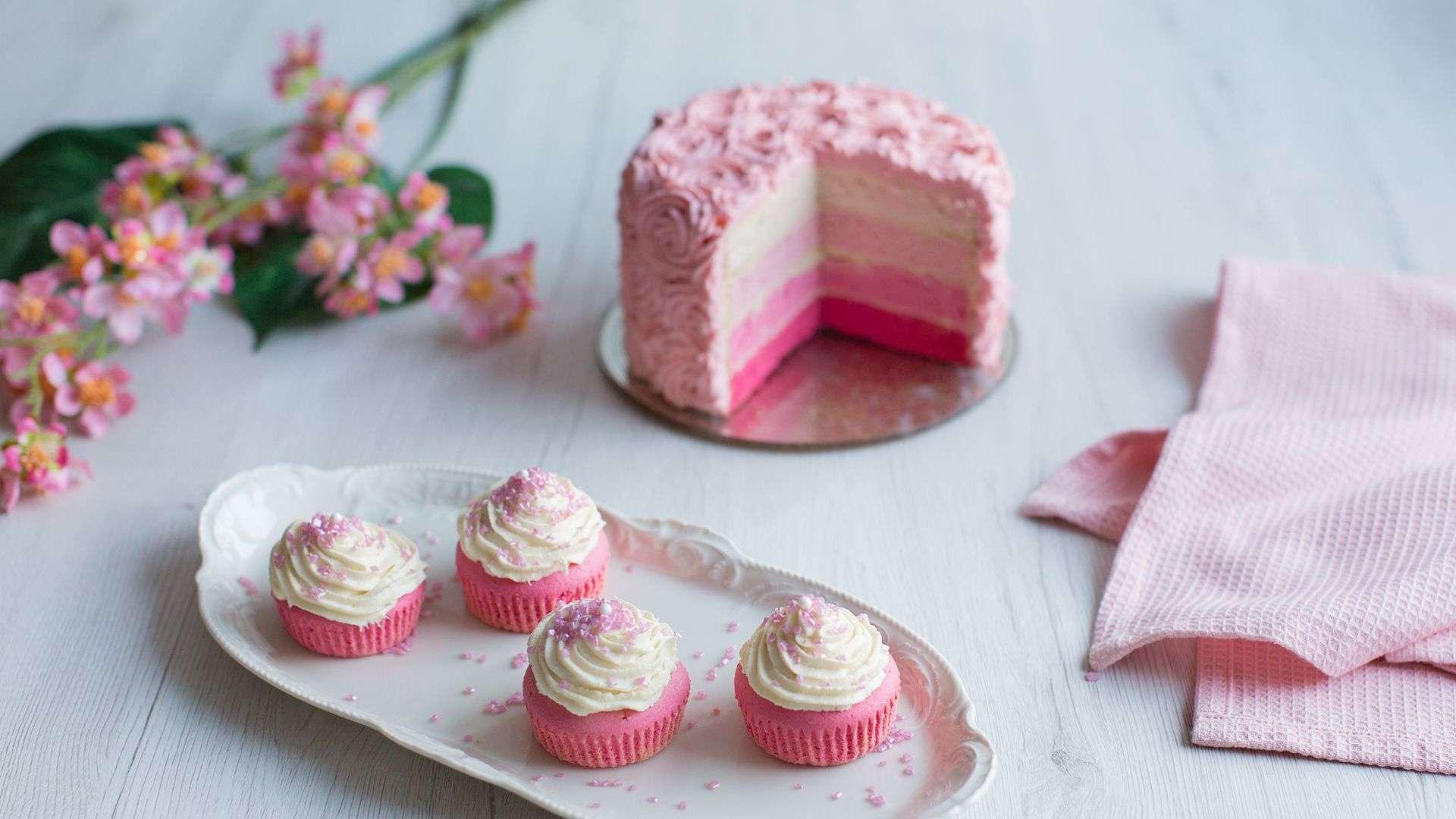 Restlverwertung Cupcakes Ombré-Torte mit Buttercreme von Lidl Österreich
