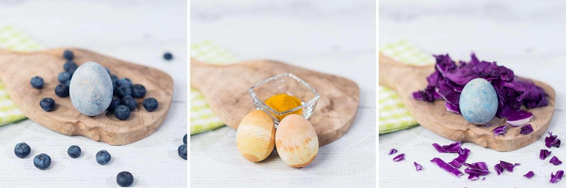 Gafärbte Eier mit natürliche Lebensmittelfarben von Lidl Österreich