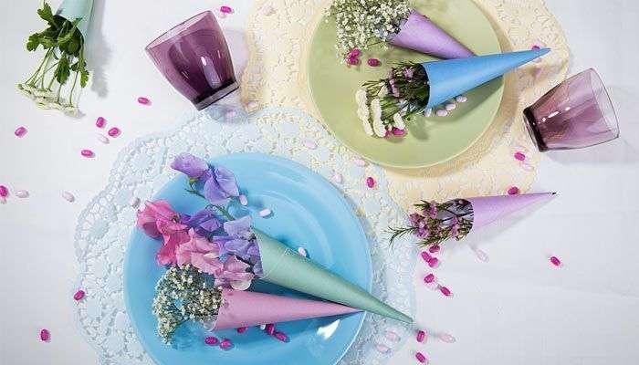 Bastelidee für Kinder Tischdeko Blümchen Tütchen von Lidl Österreich